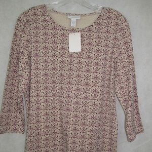 Charter Club Top Size M 3/4 Sleeve Multi Color New